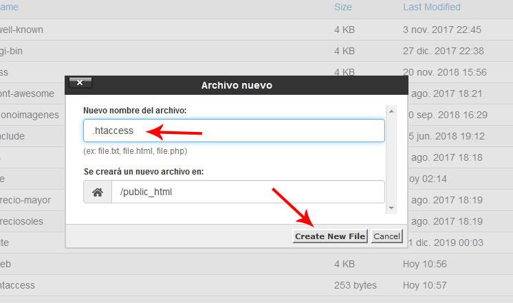 Como crear archivo htaccess